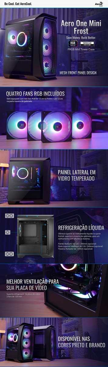 Gabinete Gamer Mini Tower Aero One Mini Front C/Fan Preto Aerocool