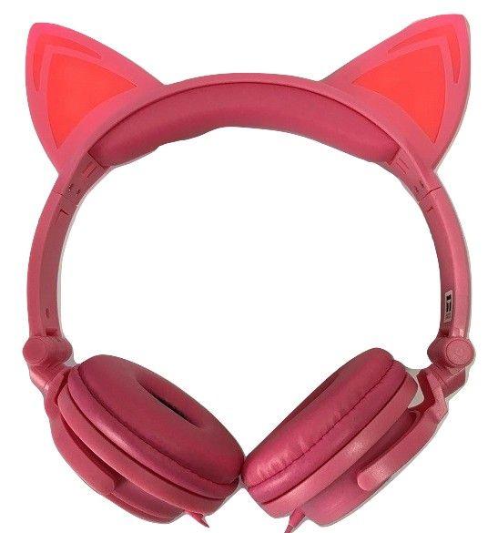 Headphone Orelha Gato C/ LED Fone Ouvido com Luzes Rosa PINK EXBOM