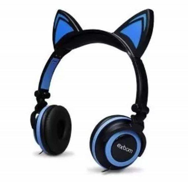Headphone Orelha Gato Fone De Ouvido Com Luzes Preto C/ Azul Exbom