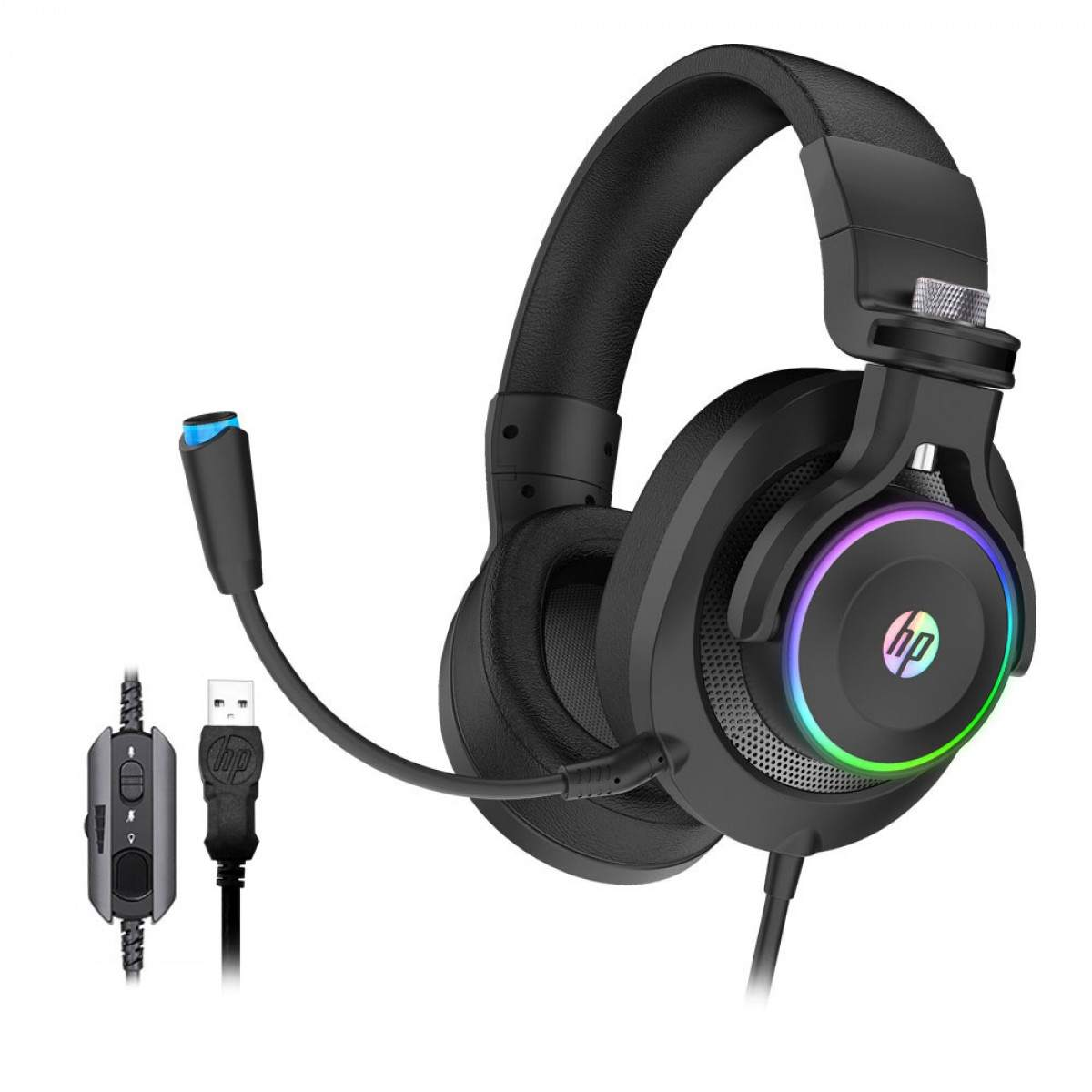 Headset Gamer 7.1 Surround Com Vibração RGB USB Preto HP H500GS