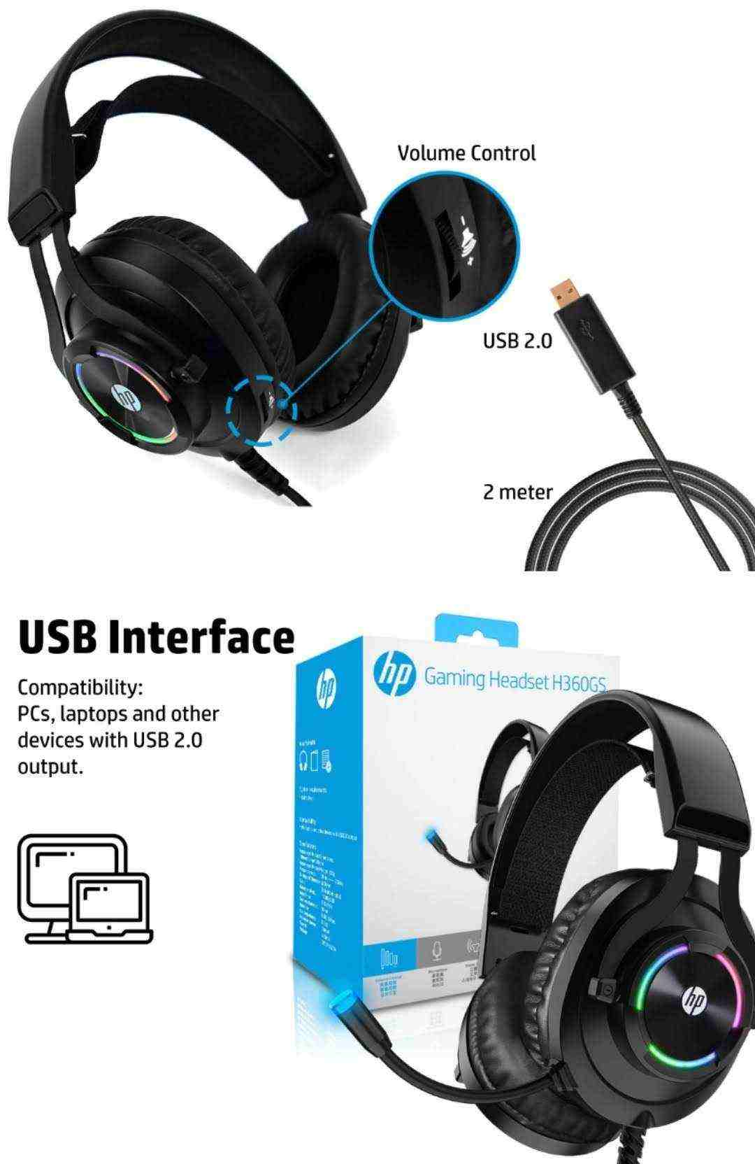 Headset Gamer Hp H360GS Led 7.1 Surrond Drivers 50mm