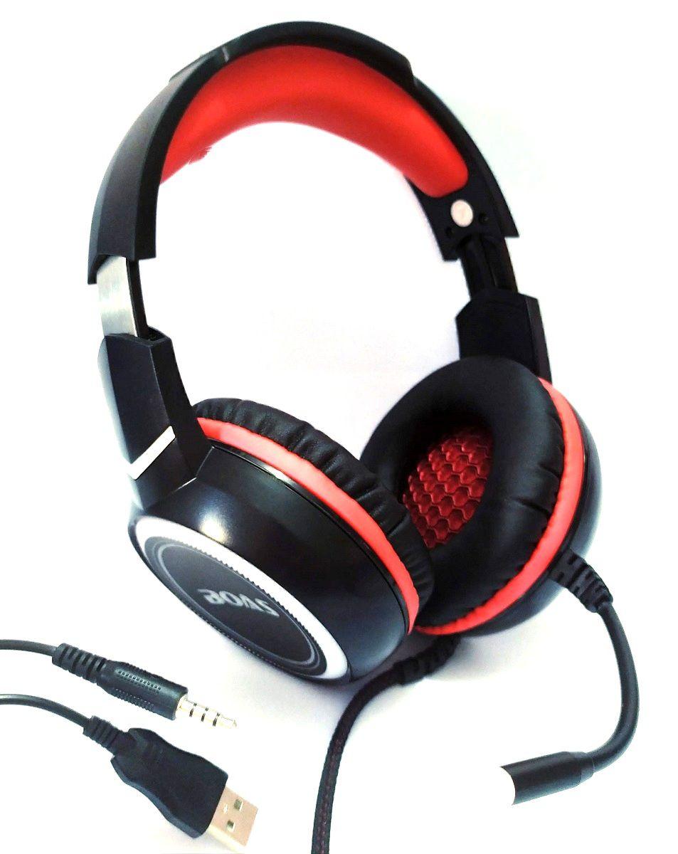 Headset Gamer Stereo Pc Fone Microfone Led Rgb P2 Usb Boas O-Max Bass Bq9900