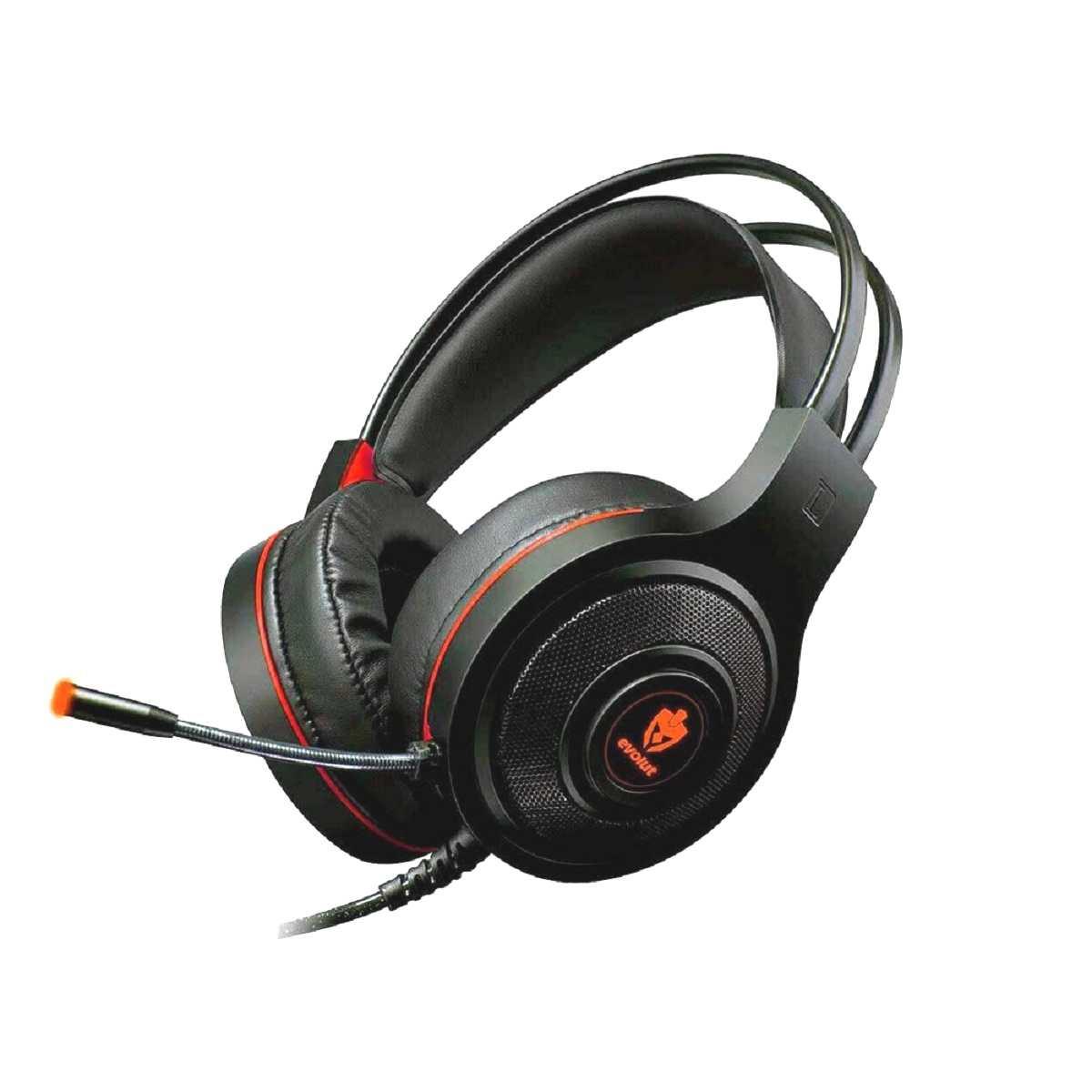 Headset Gamer Têmis Evolut Preto/Vermelho EG-301RD