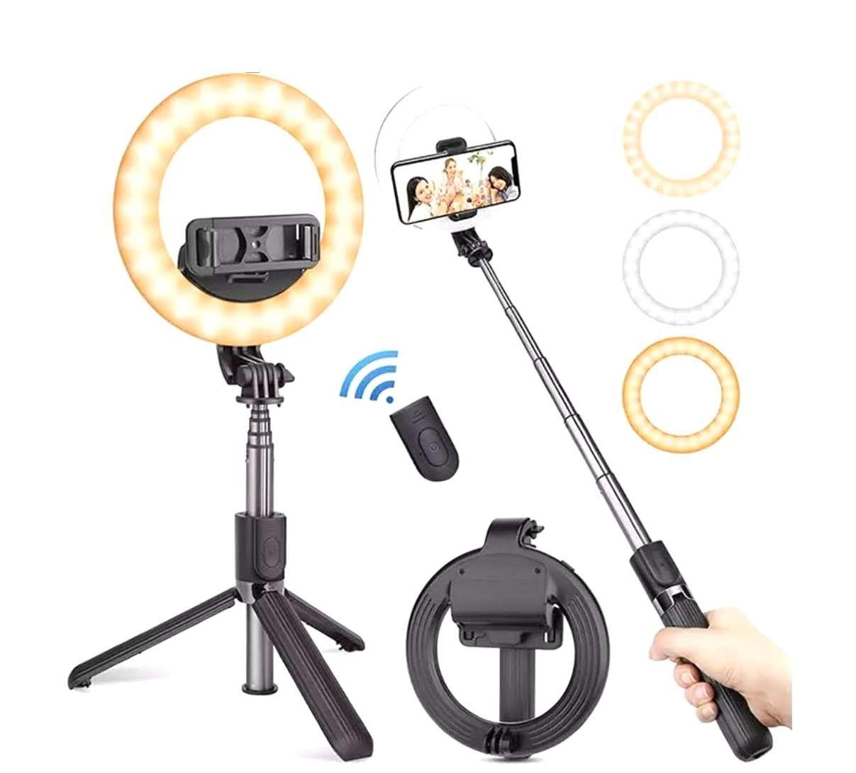 Iluminador Bluetooth Ring light Pau de Selfie Tripé L07