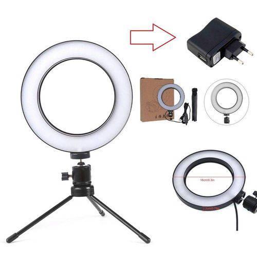 Iluminador Ring Light 16cm Usb Led Misto 3500k 5500k + Tripe Bivolt