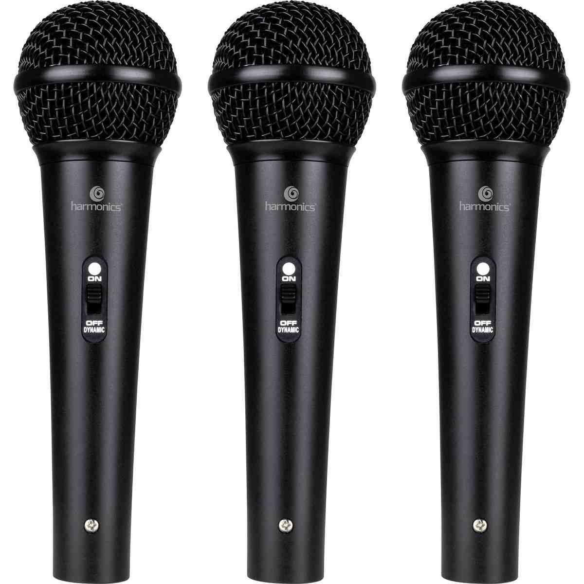 Kit 3 Microfones Dinâmicos Cardióide MDU201 Harmonics Preto + Maleta