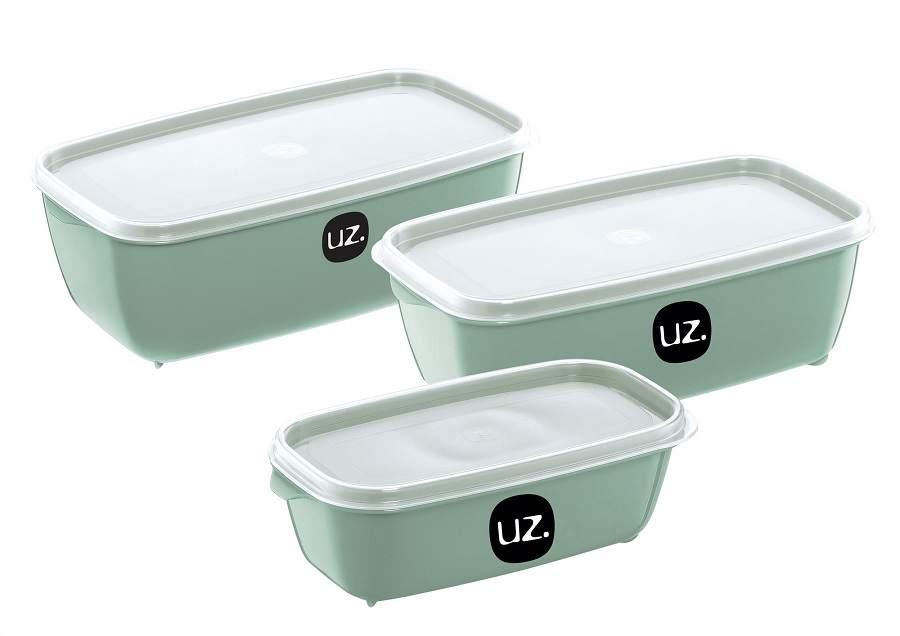 kit 3 Potes Tupperware Porta Mantimentos Retangular Premium Multiuso Uz UZ1881