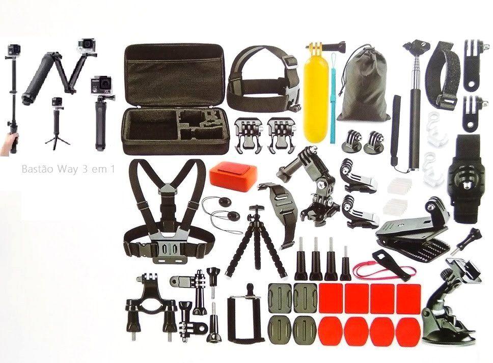 Kit Acessórios Action Câmera 55 Em 1Gopro Hero Black 6 7 Session Tripé Way 3 Em 1