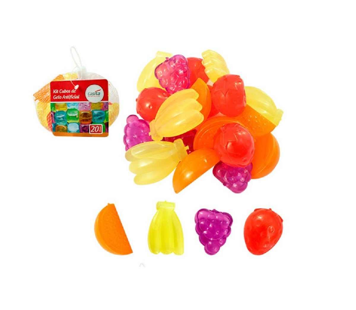 Kit Com 20 Cubos De Gelo Artificial Frutas Plástico Casíta