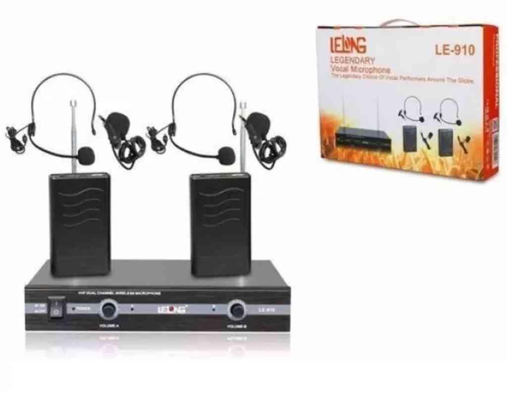 Microfone Duplo De Lapela Transmissão Profissional Lelong LE-910