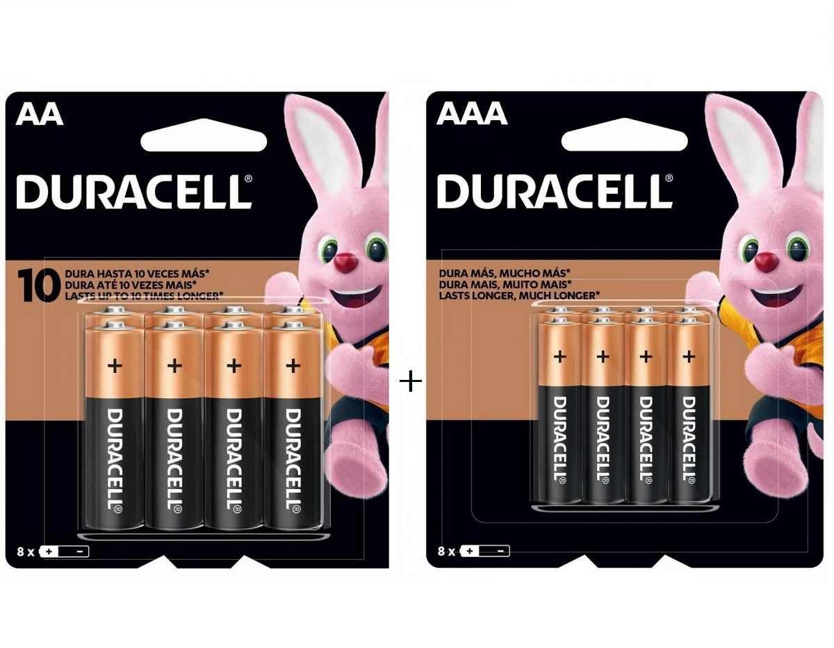Kit Duracell 16 Pilhas 8 un AA + 8un AAA