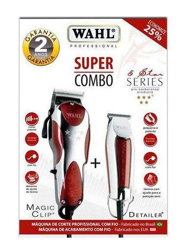 Kit Máquina De Corte Magic Clip + Detailer Acabamento Wahl