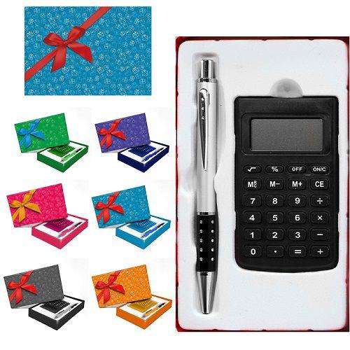 Kit Presente Calculadora Caneta De Alumínio E Caixinha Para Presente