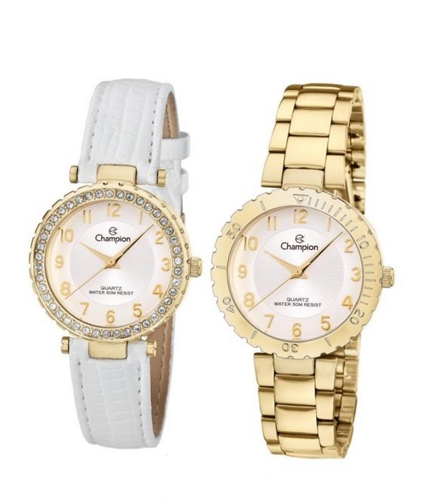Kit Relógio Champion Feminino Dourado Troca Aro e Pulseiras CN28759H