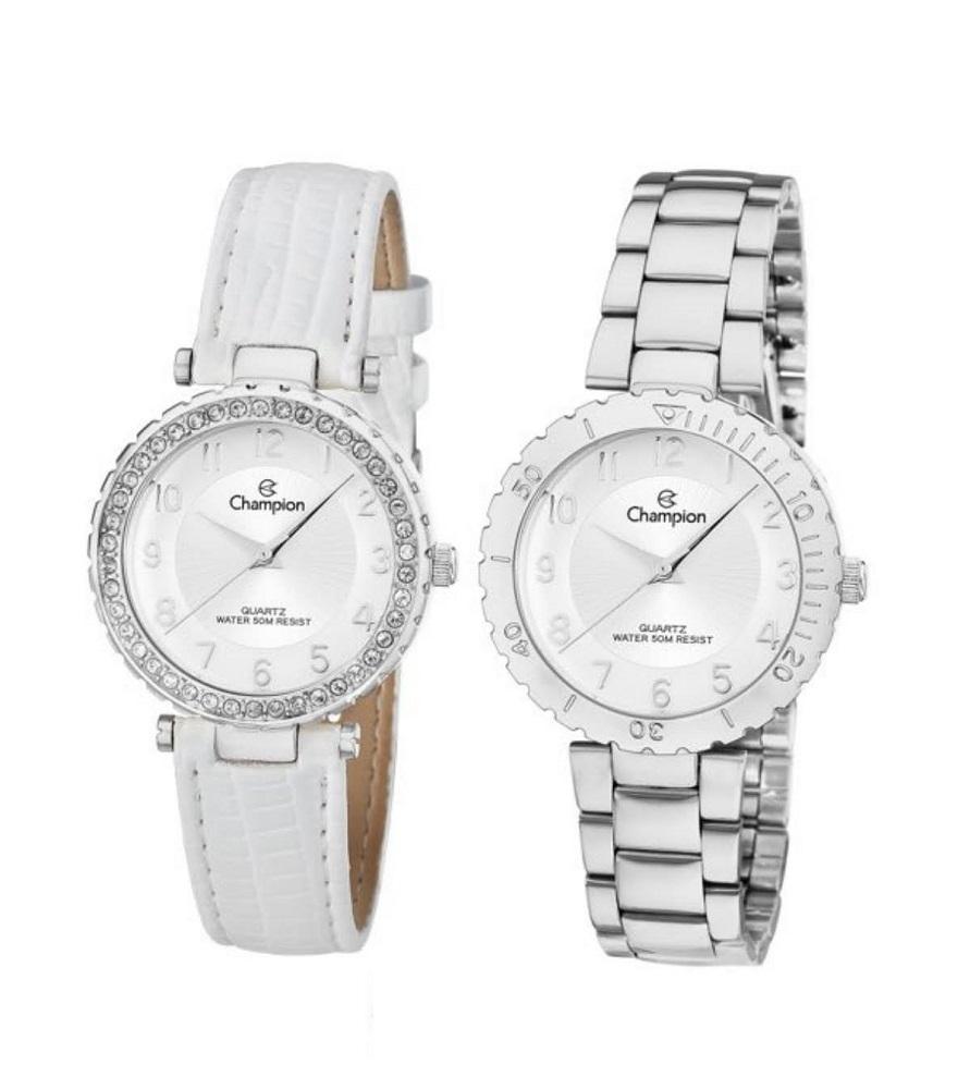 Kit Relógio Champion Feminino Troca Aro e Pulseiras CN28759Q