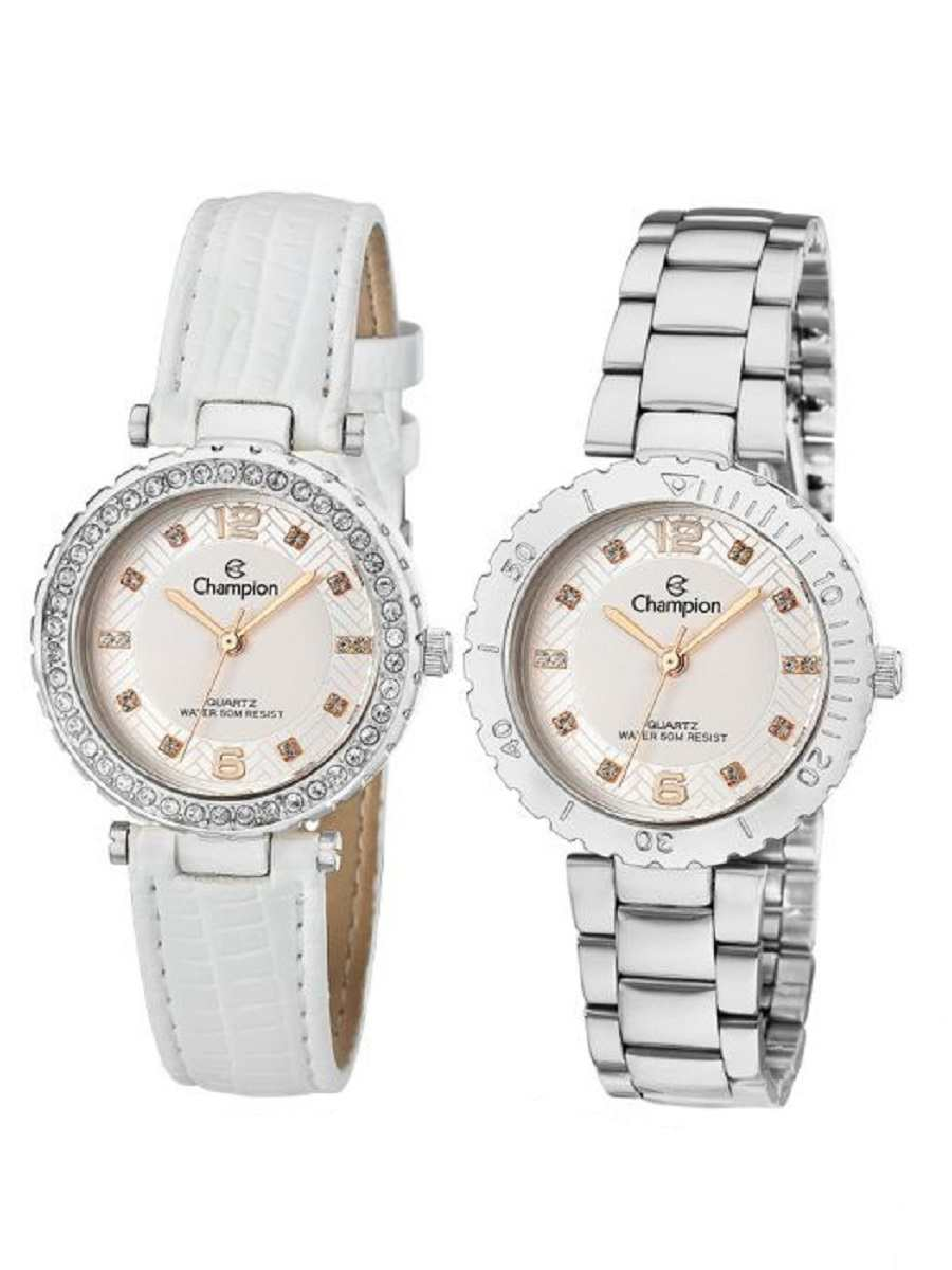 Kit Relógio Champion Feminino Troca Aro e Pulseiras CN29203Q