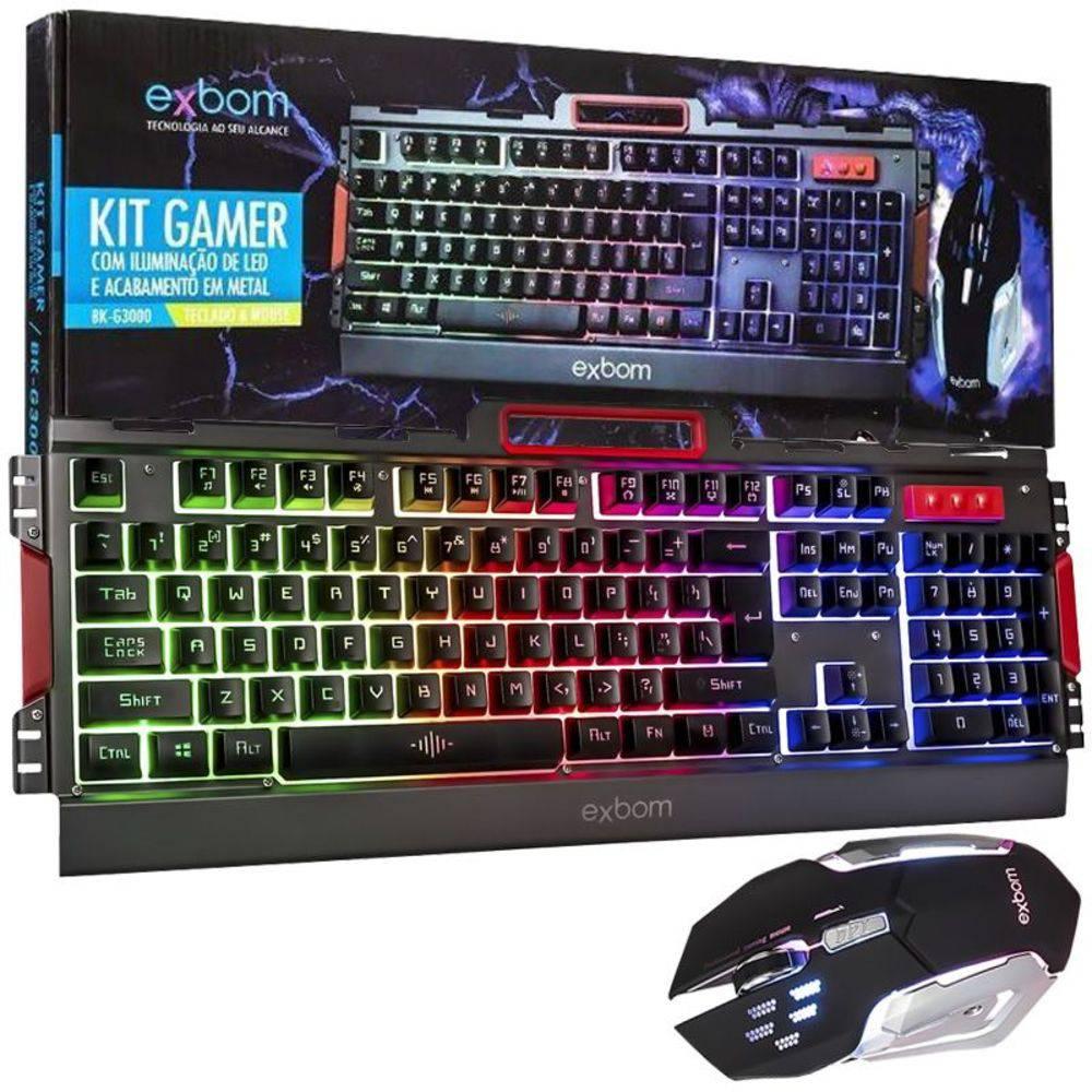 Teclado e Mouse Gamer Led Rgb Exbom BK-G3000