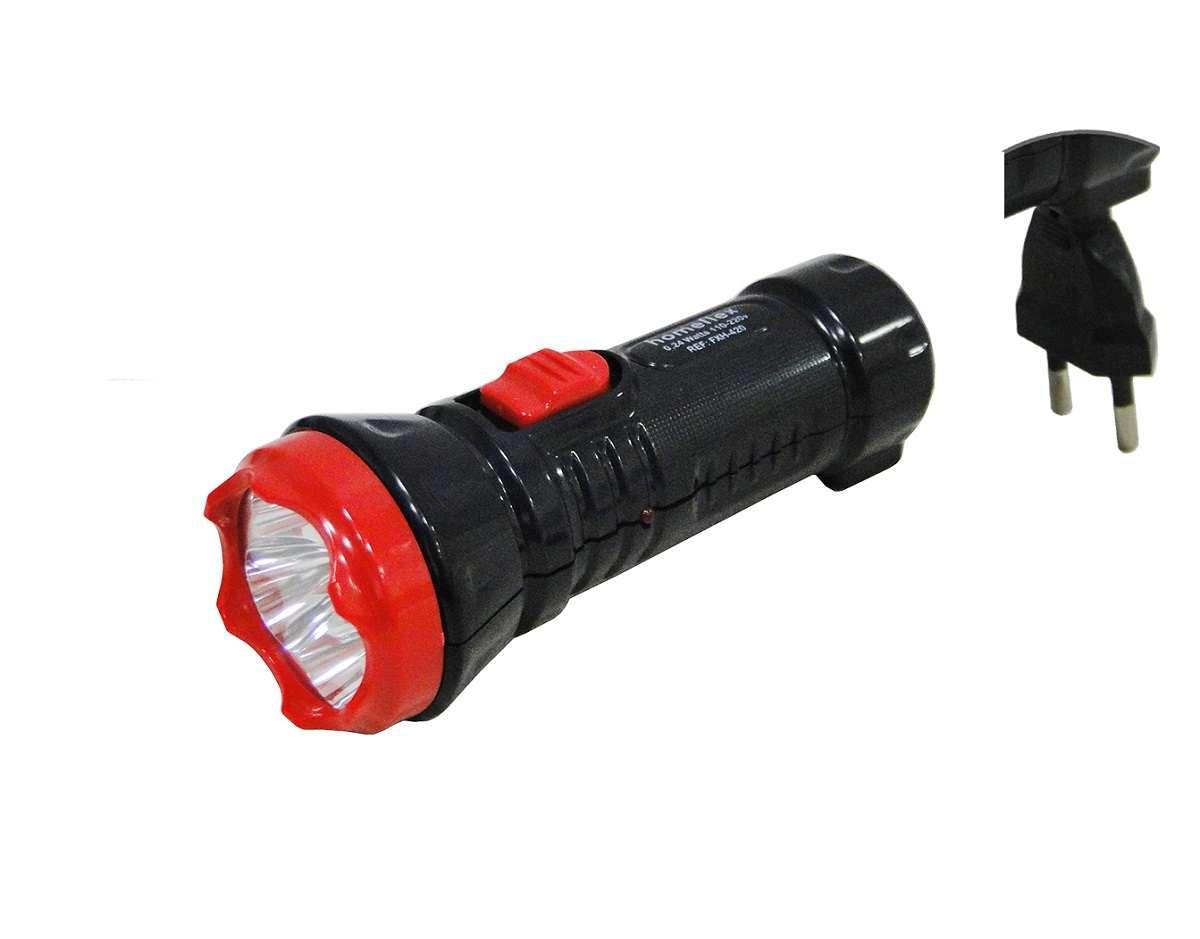 Lanterna De Mão 4 leds Branco Frio Recarregável Bivolt Homeflex Fxh-420
