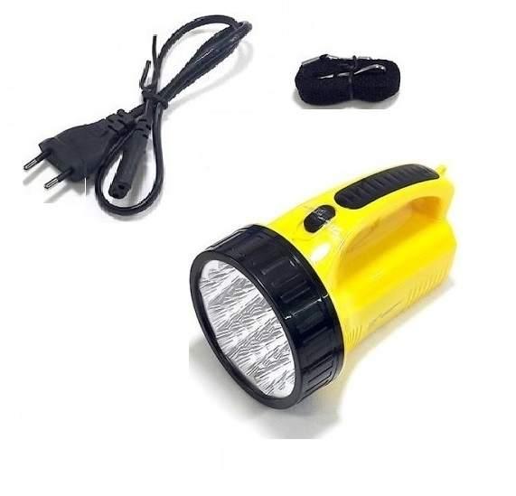 Lanterna De Mão Holofote Com 19 leds Branco Frio Recarregável Bivolt DP-1706