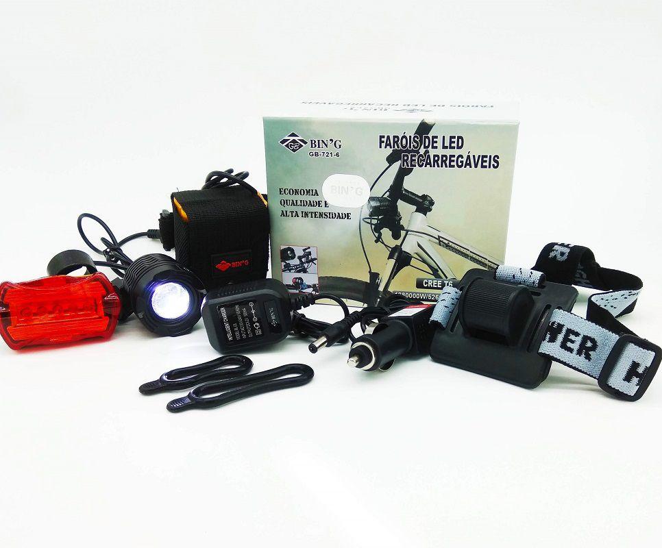 Lanterna Farol LED T6 de Bicicleta Bike Recarregavél de Cabeça Bmax