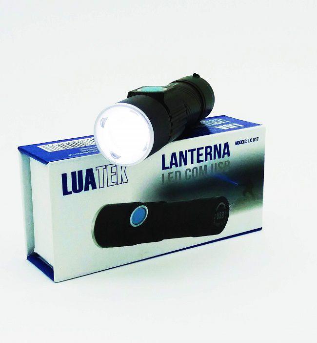 Lanterna Tática Recarregável USB Potente LED Alcance 400 MT Luatek LK-017