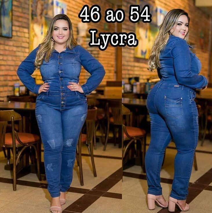 Macacão Macaquinho Jeans Plus Size Longo Manga Longa Lycra Com Botões