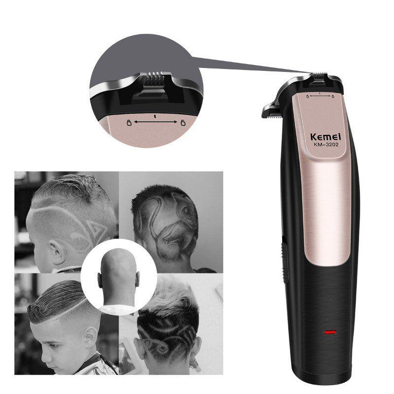 Maquina Acabamento De Cabelo Barba Recarregável Profissional 2 Em 1 Kemei Km-3202 Bivolt