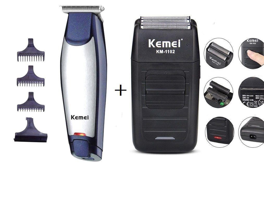 Maquina De Barbear 1102 + Maquina De Cortar Cabelo Kemei 5021 Bivolt Sem Fio Recarregável