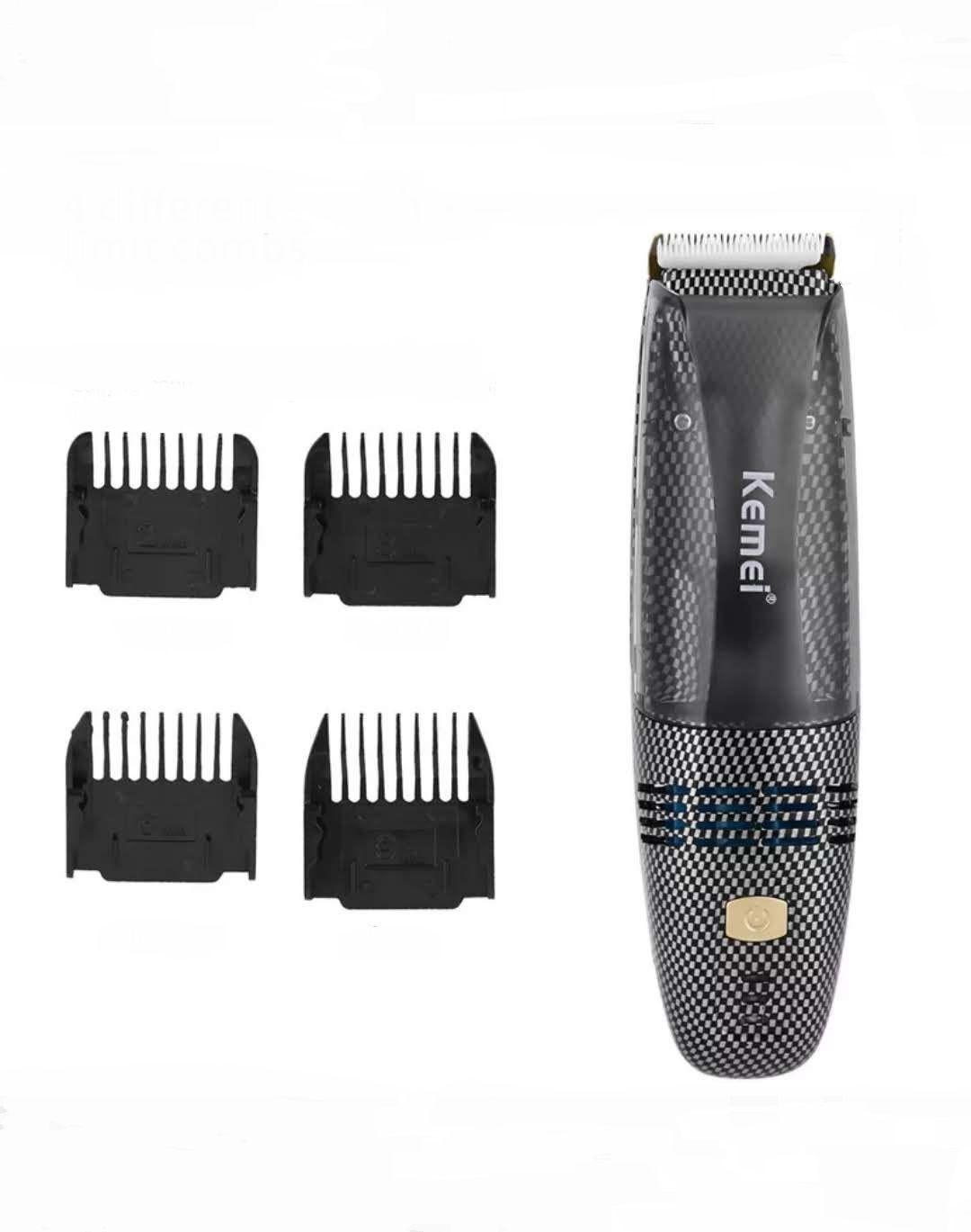 Maquina De Corte Cabelo Barba Sem Fio 2 em 1 Sucção de cabelo Kemei Km-77 Bivolt