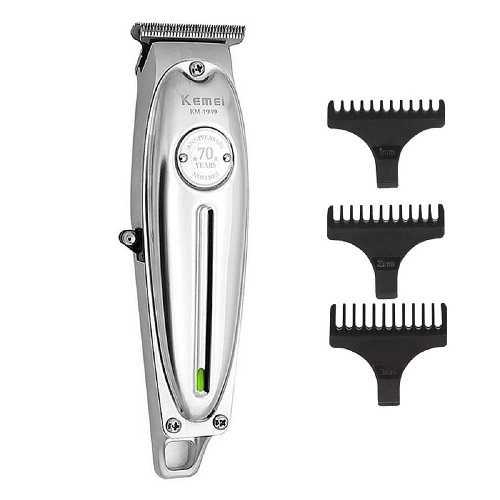 Maquina De Corte Cabelo Barba 5w Profissional  S/Fio Metal Kemei-1949 Bivolt Prateada