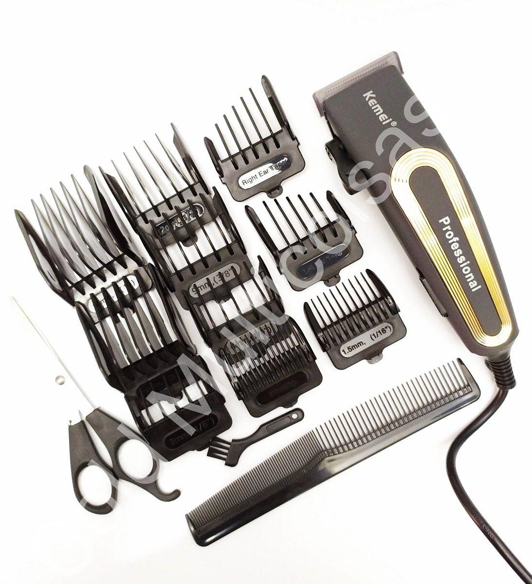 Maquina De Corte Cabelo Barba 8W Profissional 15 Acessórios 220V Kemei 6360