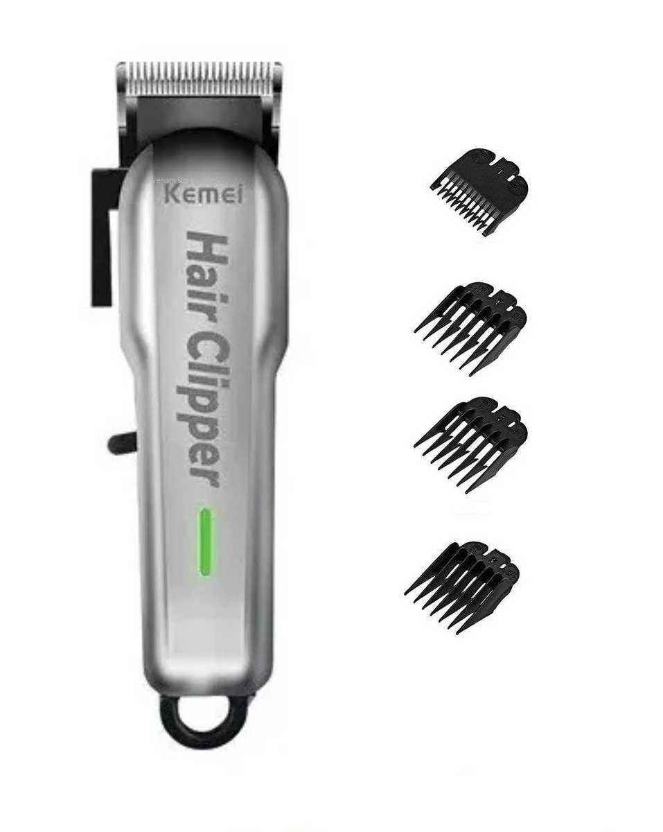 Maquina De Corte Cabelo Barba Profissional Clipper S/Fio 5W  Kemei Km-717 Bivolt