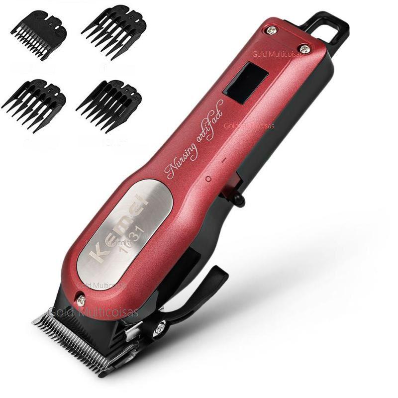 Maquina De Corte Cabelo Barba Profissional S/Fio 8W Cordless Kemei Km-1031 Bivolt