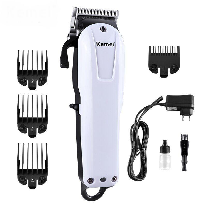 Maquina De Corte Cabelo Barba Profissional Sem Fio 9W Cordless Kemei Km-2601