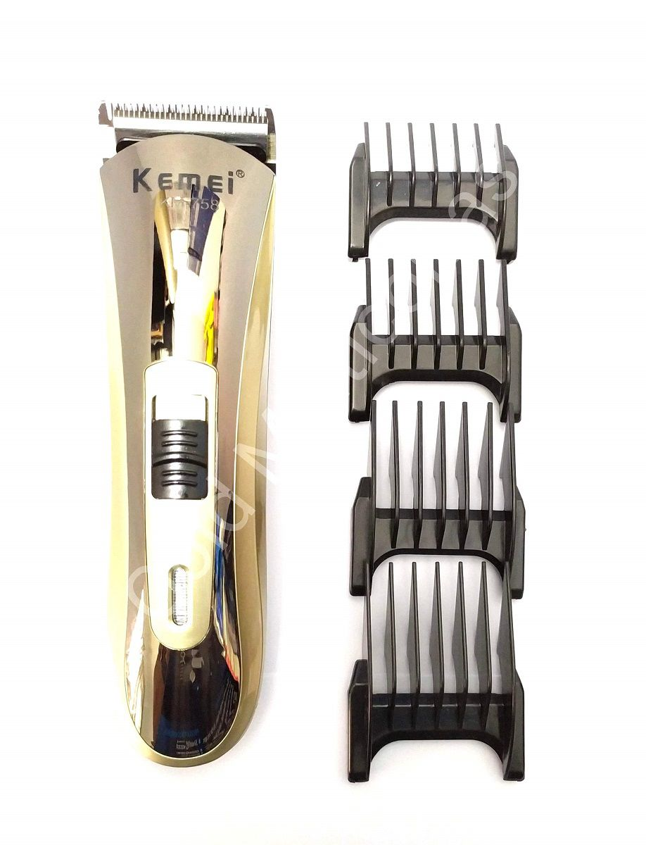 Maquina De Corte Cabelo Barba Recarregável Kemei Km-758 Bivolt Dourado