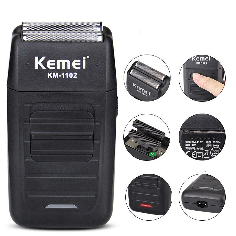 Maquina Kemei Shaver 2 em 1 Lamina Dupla Km-1102 Cordless Profissional Bivolt