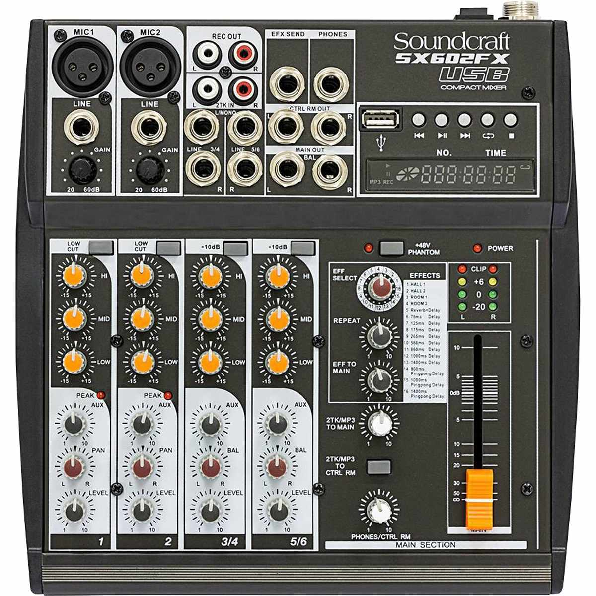 Mesa de Som 6 Canais USB SX602FX Preta Soundcraft c/Fonte Bivolt