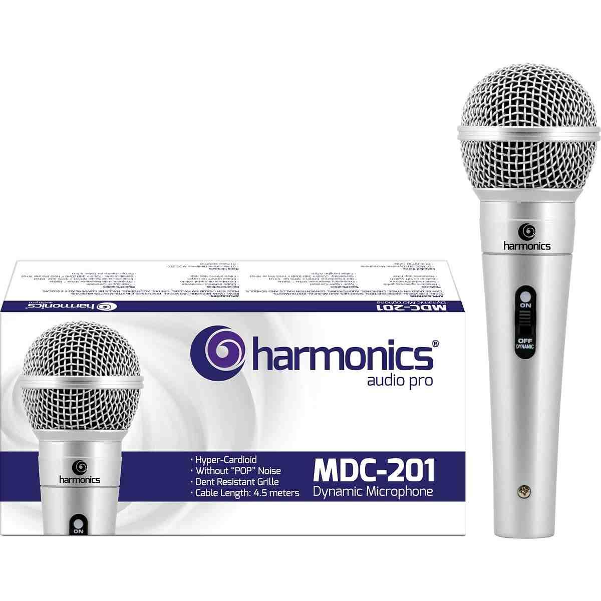 Microfone Profissional MDC201 Dinâmico Supercardióide Prata Harmonics