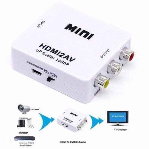 Mini Adaptador Conversor De Hdmi Para Av Video Composto 3rca