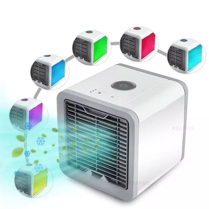 Mini Climatizador Ar Ventilador Portátil Com Led Colorida USB Bivolt