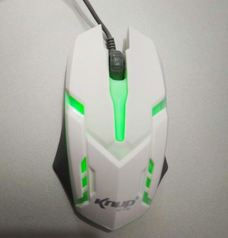 Mouse Gamer  Optico USB 1600DPI Branco LED 7 Cores KNUP