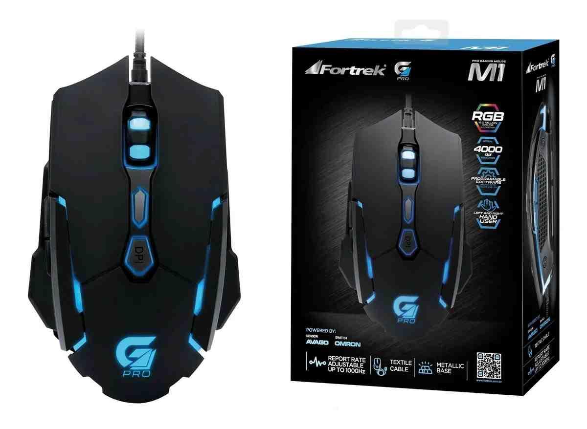 Mouse Gamer Pro M1 RGB Preto Fortrek 4000Dpi Usb Folheado A Ouro