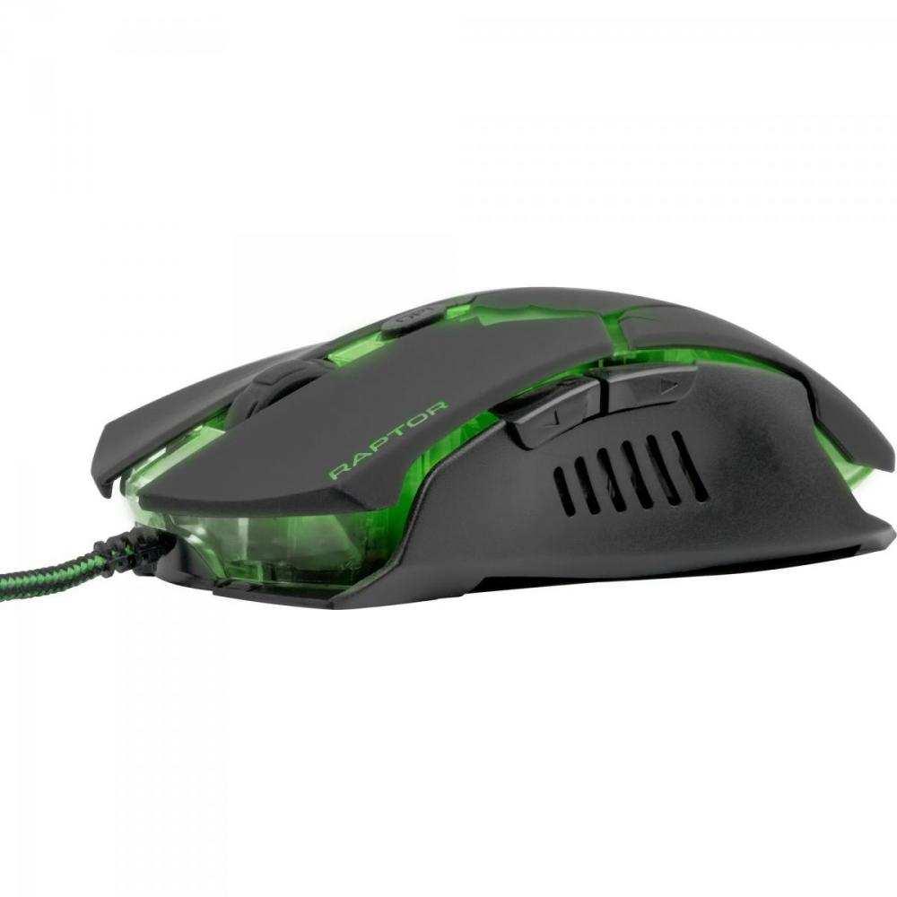 Mouse Gamer USB 3200DPI 6 Botões + Scroll Raptor OM-801 Preto/Verde Fortrek