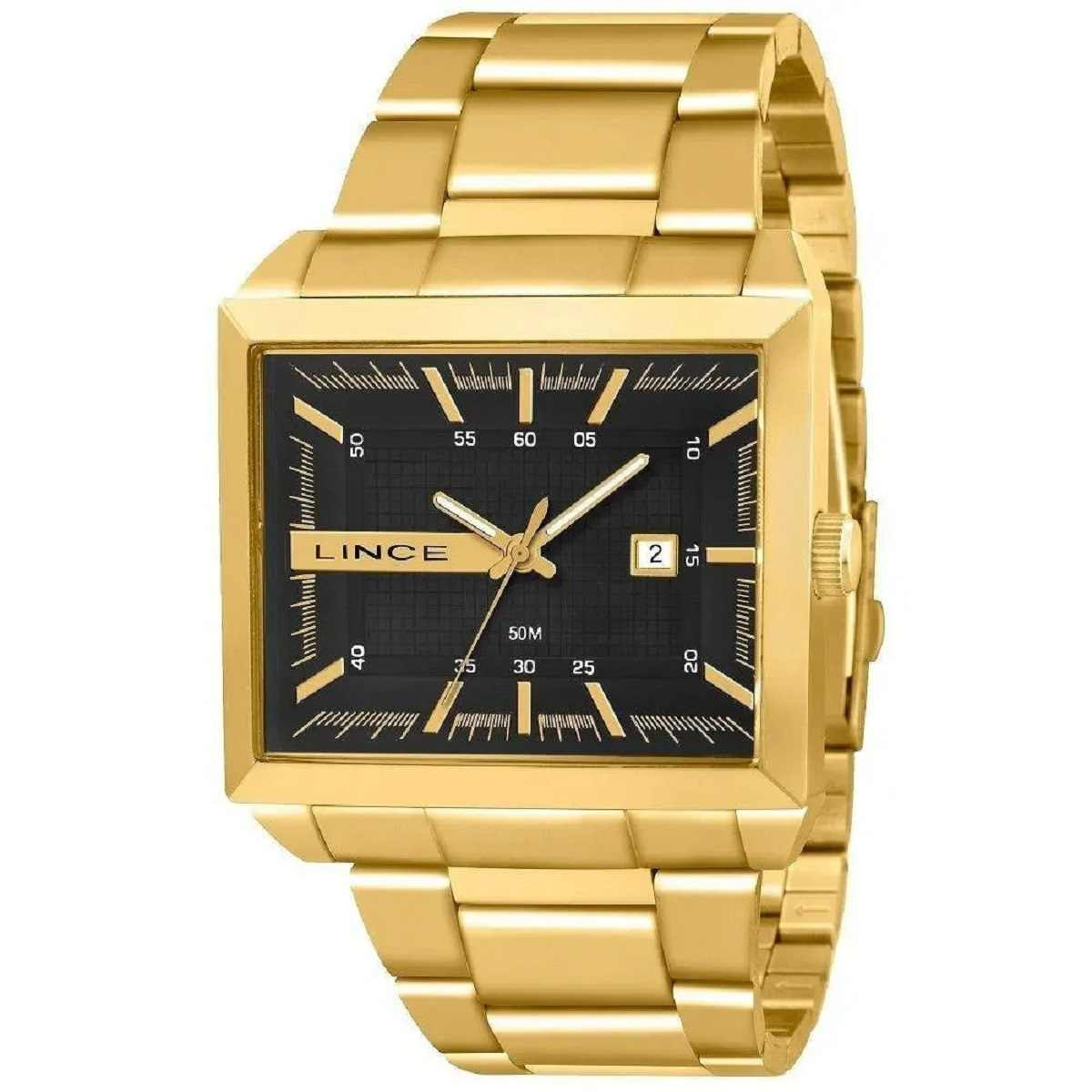 Relógio Lince Masculino Quadrado Dourado MQG4267L P1KX
