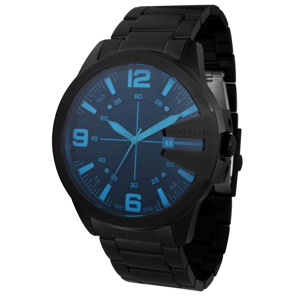 Relógio Lince Masculino Analógico Preto Vidro Azul MRN4485L P2PX