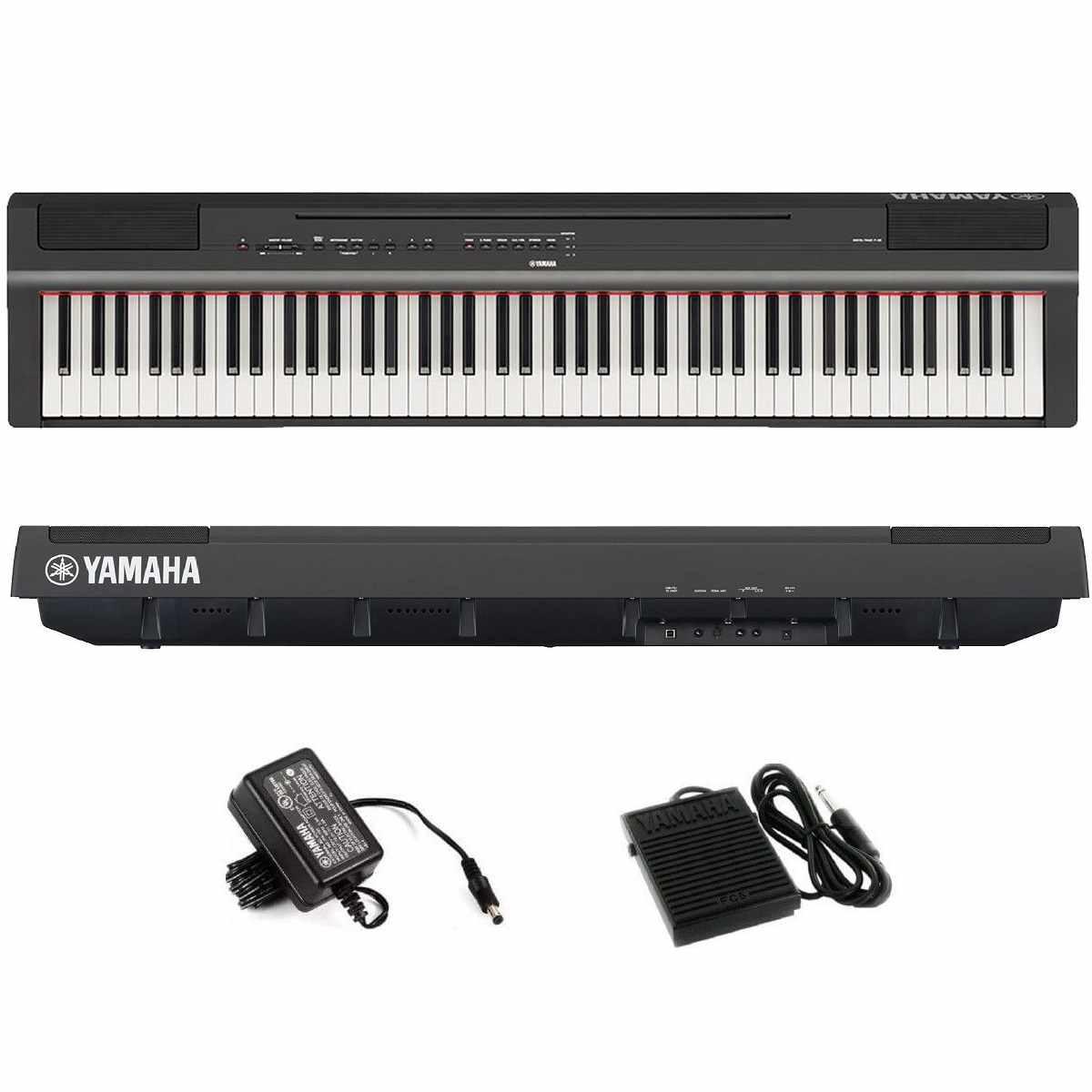 Piano Digital P125B Preto Yamaha Compacto c/ Fonte Bivolt  + Pedal Sustain