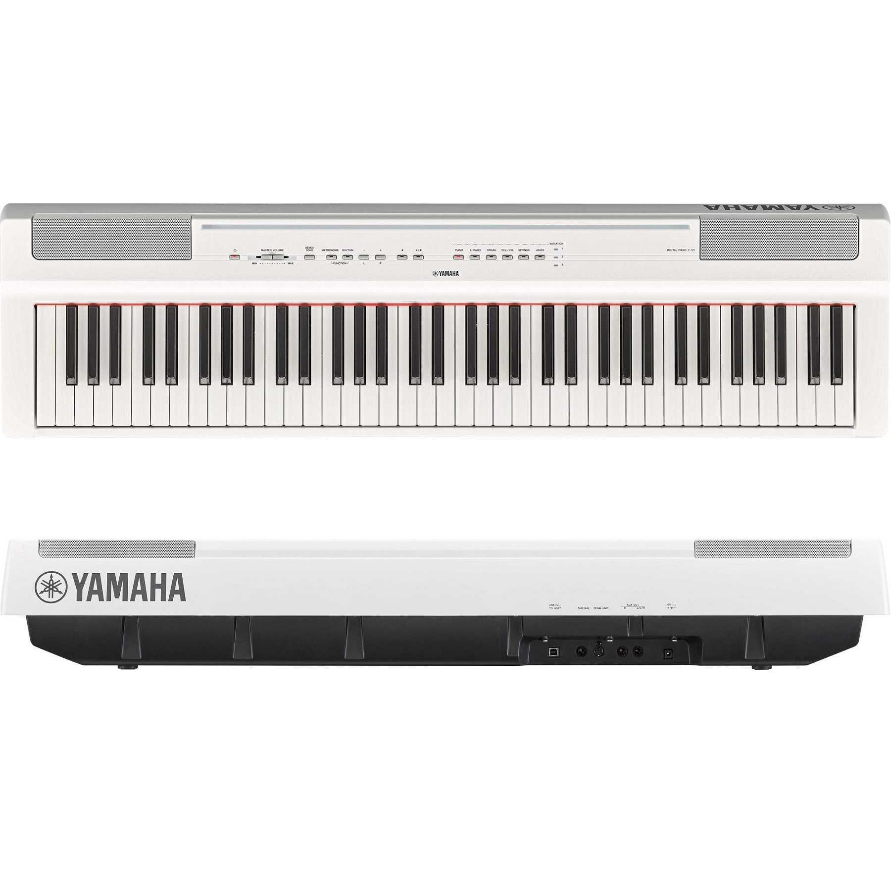 Piano Digital Yamaha P121WH Branco Portatil + Pedal e Fonte Bivolt