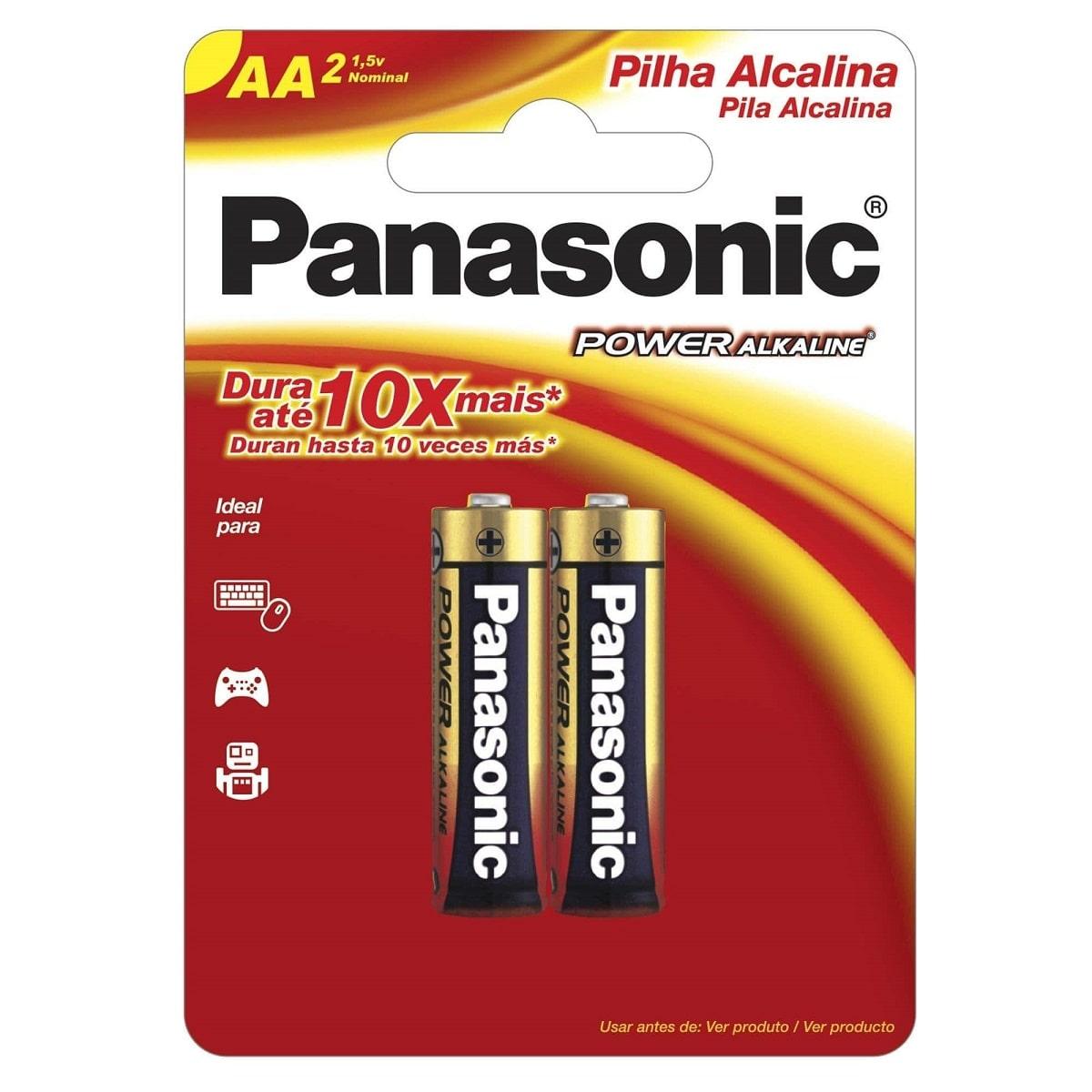 Pilha AA Alcalina LR6XAB/2B192 Cartela Com 2 Pilhas Panasonic