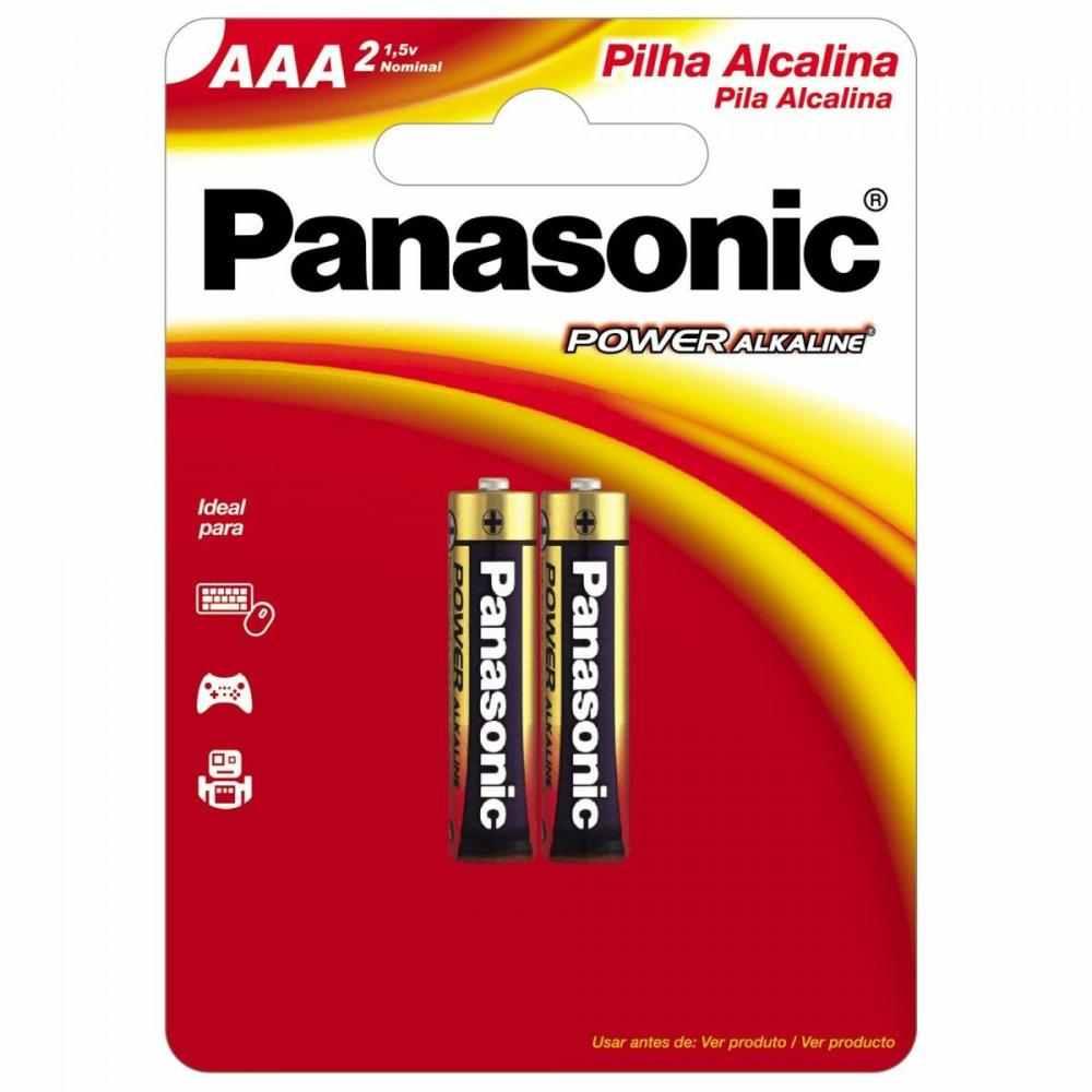 Pilha Alcalina AAA 1,5V LR03XAB/2B1 Panasonic Cartela c/2 Unidades