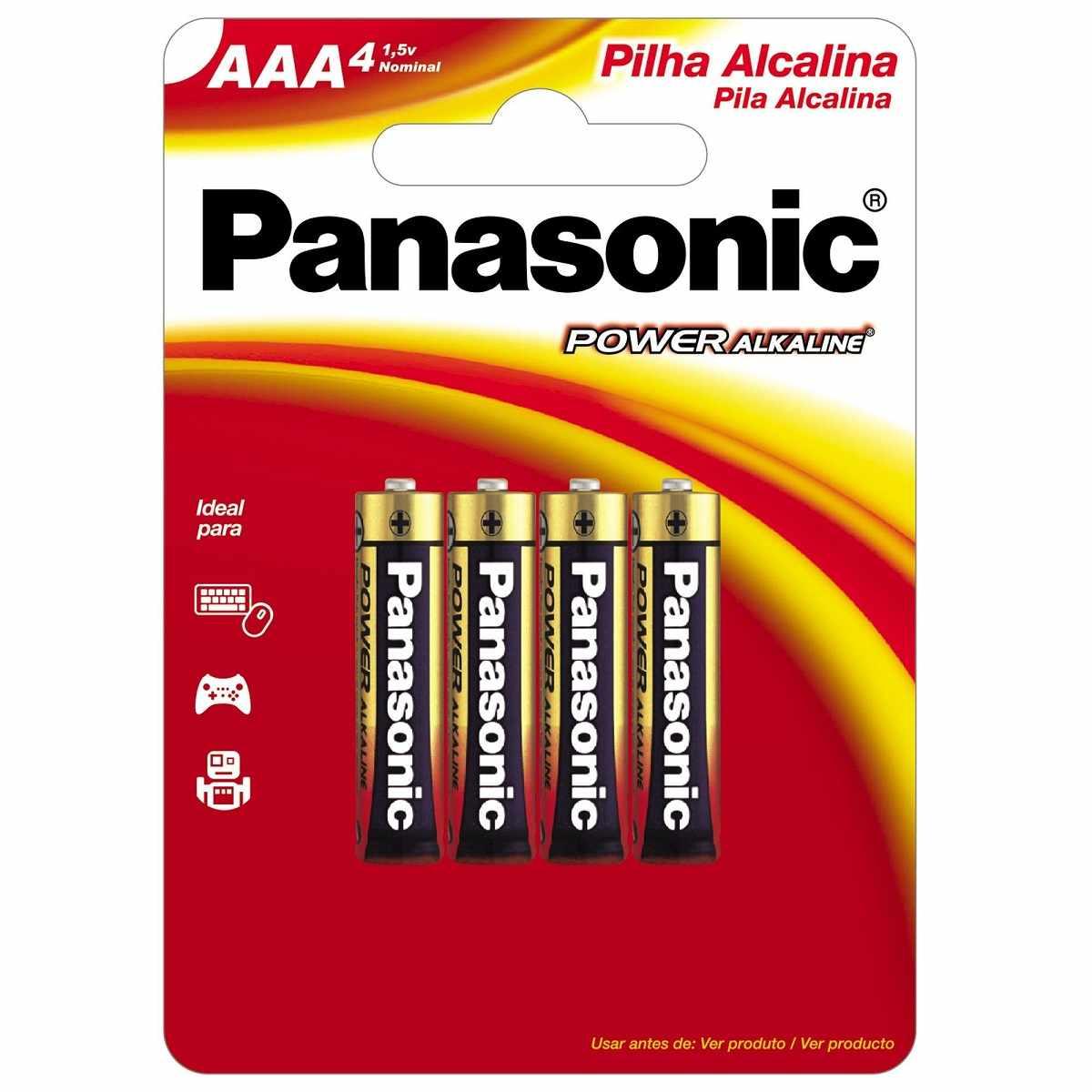 Pilha Palito Alcalina AAA 1,5V LR03XAB/4B1 Panasonic (Cartela com 4 Unid.)